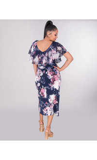 ISABEL- Floral V-Neck Dress With Ruffle