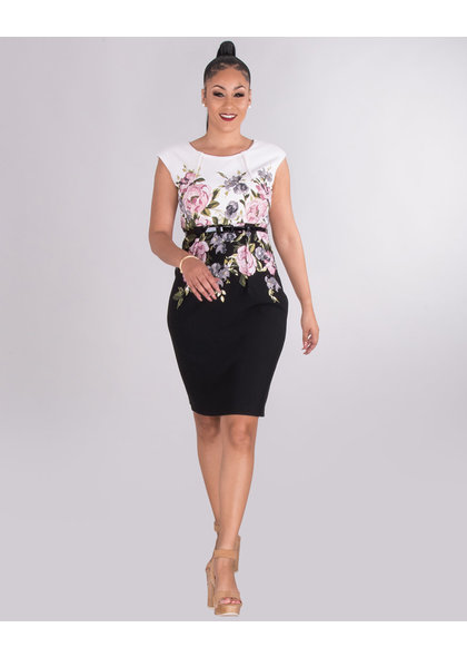 PEDRA- Two-Tone Floral Dress With Belt