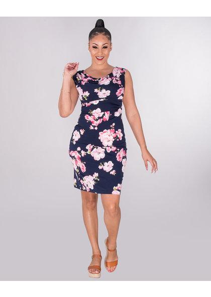 ISALA- Cowl Neck Cap Sleeve Dress
