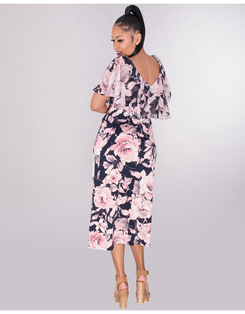 ISABEL- Printed Caplet Dress