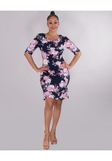 YORI- Puff Print Cowl Neck Short Sleeve Dress