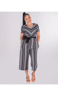 BLAKE - Striped V-Neck Mid Length Jumpsuit