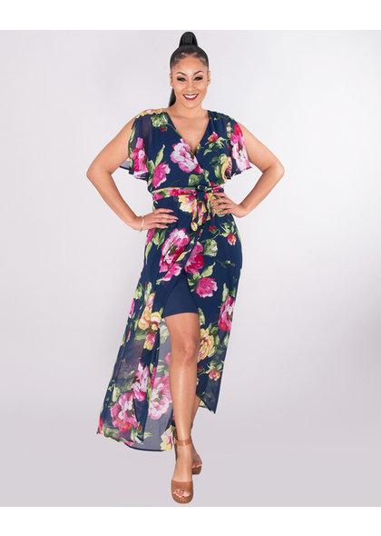 MEG-Strap Dress With Long Floral Split Overlay