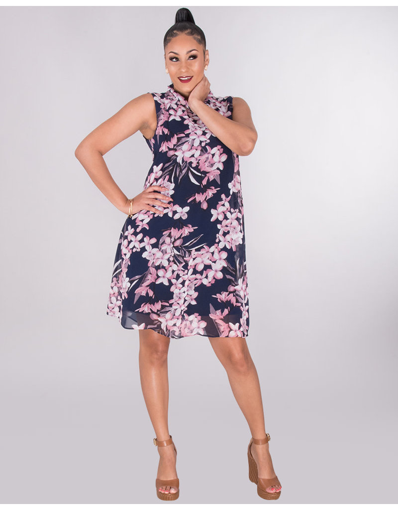 FOTINA- Floral Turtleneck Dress