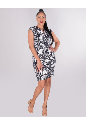 PHOEBE- Floral  Deep V-Neck Dress