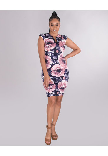 PAYTON- Floral Deep V-Neck Dress