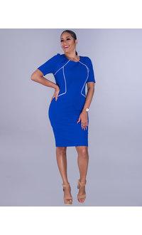 GLAMOUR ROSEANNE- Contrast Trim Short Sleeve Dress