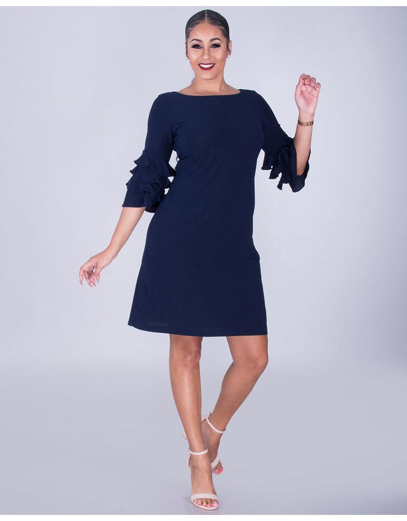 RAMIRA- Flounce Sleeve Crepe Dress