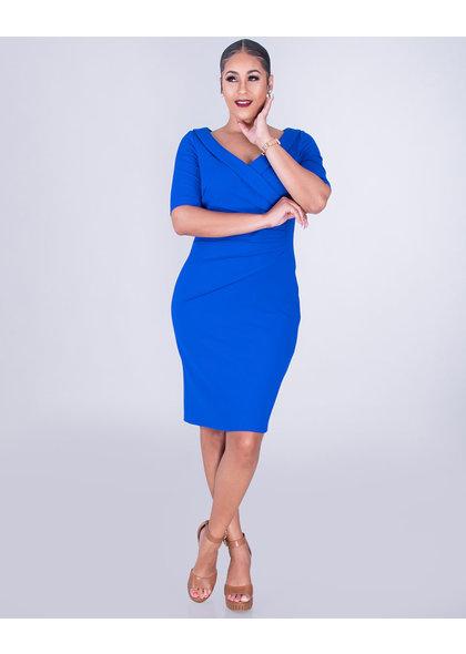 GLAMOUR RHONWEN- V-Neck Short Sleeve Dress