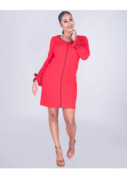 Sharagano RYO- Crepe Dress With 3/4 Sleeves With Bow Accent