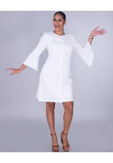 RAVIA- 3/4 Sleeve Crepe Dress