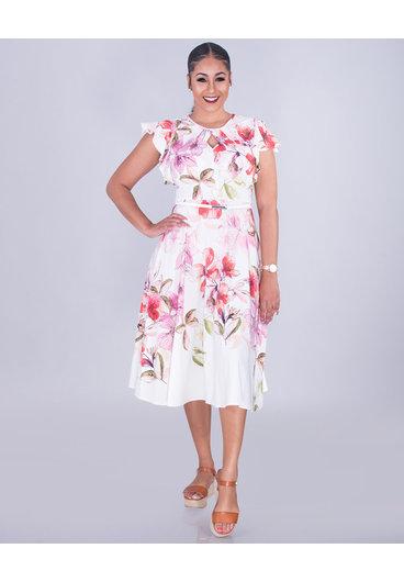 ROLENE- Belted Ruffle Sleeve Dress