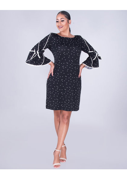 ROMIA - Polka Dot Drama Sleeve Dress