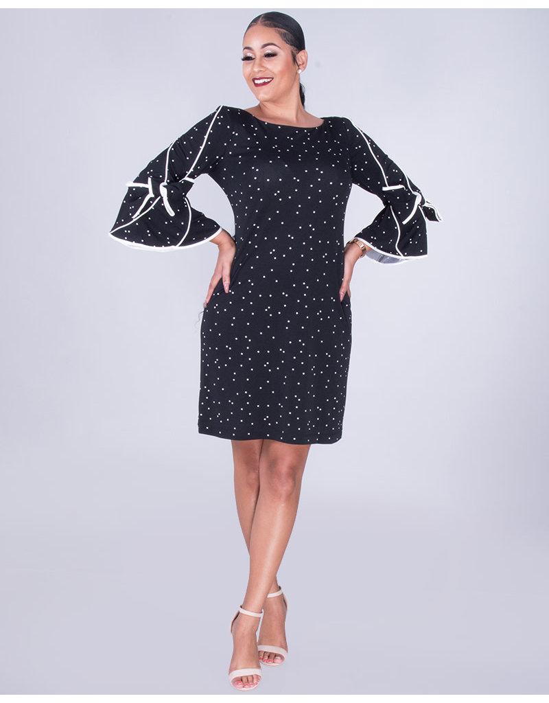 ROMIA - Polka Dot Drama Sleeve Dress