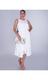 FERNA- Sleeveless Blouson Appliqué Dress