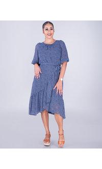 Maison Tara FALLAN- Polka Dot Faux Wrap Dress