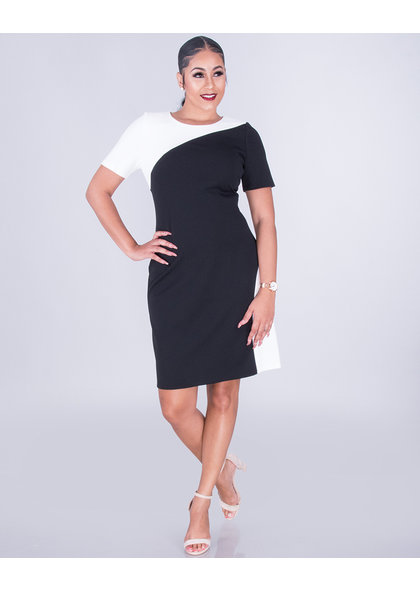 GLAMOUR RUDELLA- Color Block Short Sleeve Dress
