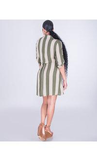 ROSELLE- Striped Roll Tab Shirt Dress