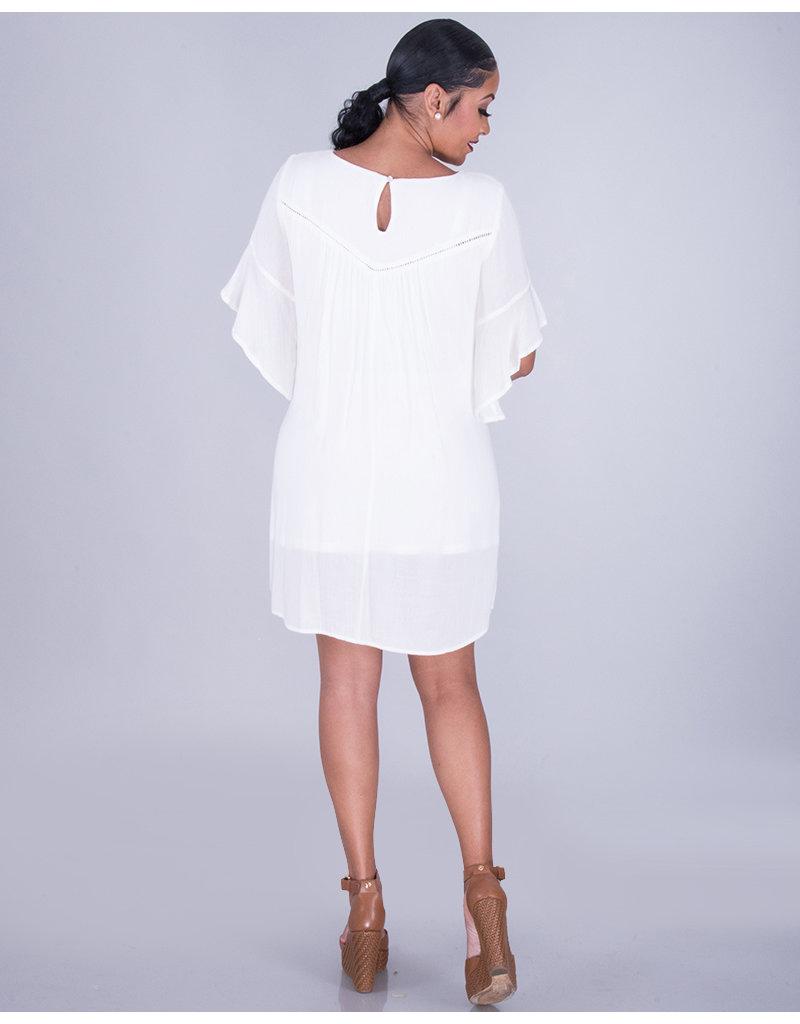 KEISHA- Embroidered Drama Sleeve Dress