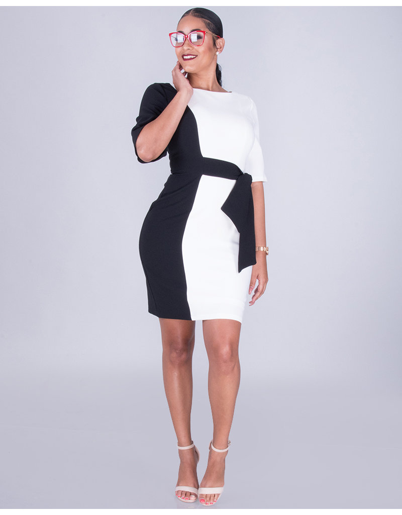 RAYLIZA - Vertical Color Block Dress with Side Tie