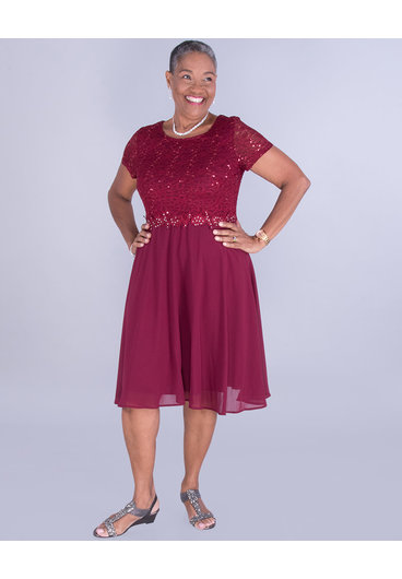 New Bell FRANCILLE- Sequined Lace Top Dress