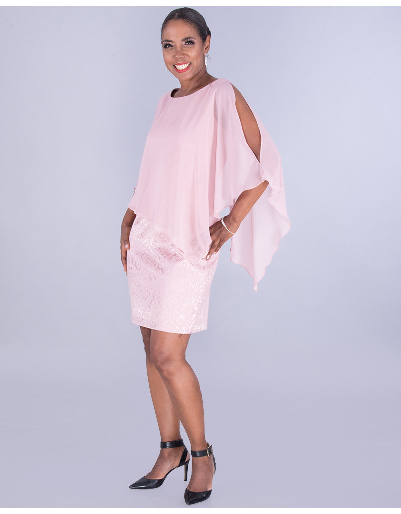 SHEILA- Brocade Cape Dress