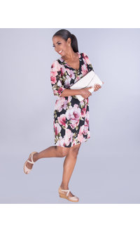 FARNAZ- Floral Balloon Sleeve Dress