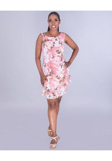 FIANA- Tiered Hem Floral Dress