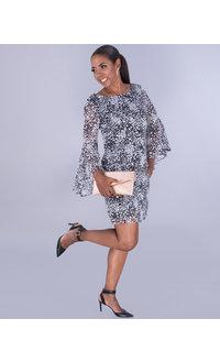 Jessica Howard FELITA- Floral 3/4 Drama Sleeve Dress
