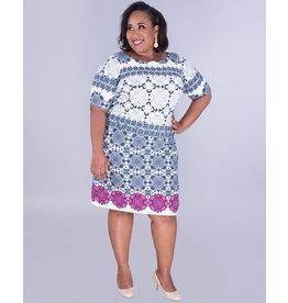 Eliza J ISABETTA- Two-Tone Puff Print Dress