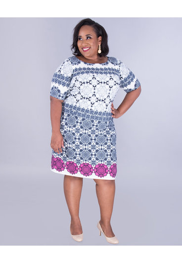 Eliza J ISABETTA- Two-Tone Puff Print Dress