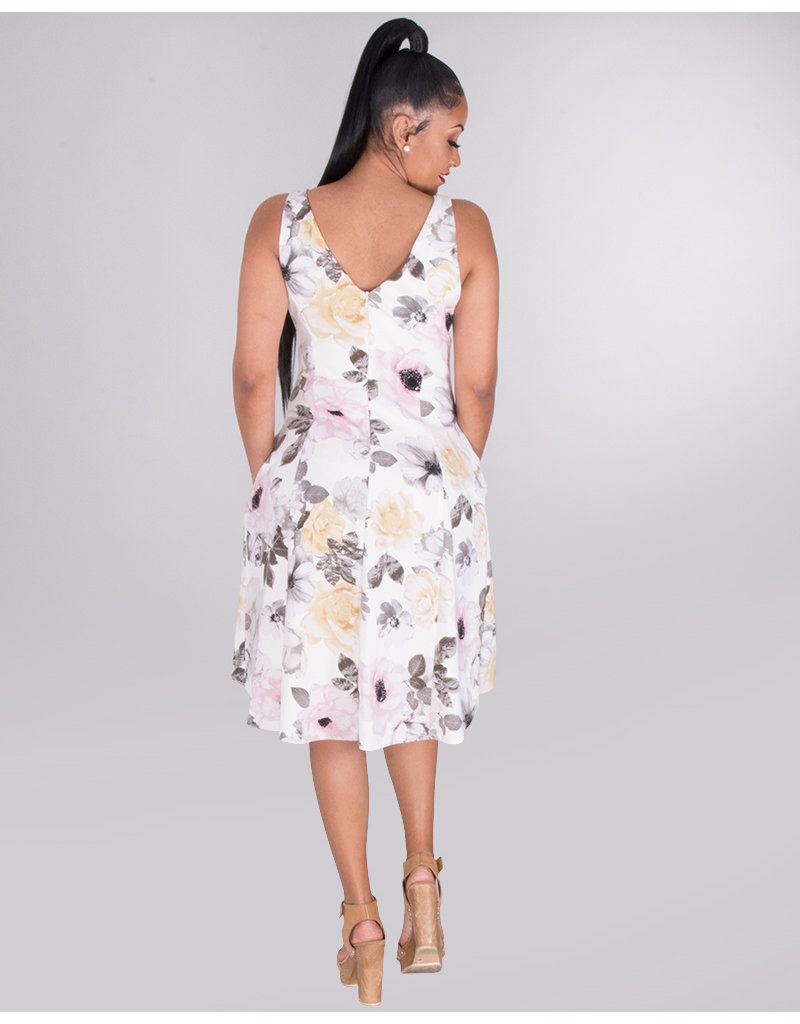 RYLEN- Floral Hi -Low Strap Dress