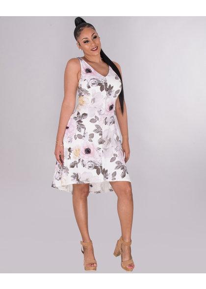 RYLEN- Floral Hi -Low Strap Dress