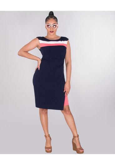 ROSARIE- Color Block Wrap Dress