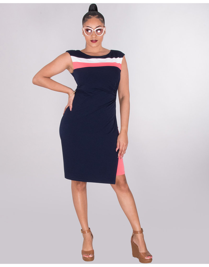 ROSARIE- Colour Block Faux Wrap Dress