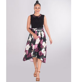 HILARY- Floral Hi Lo Dress With Bead Necklace