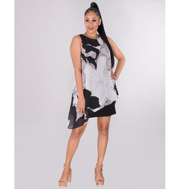 FAUSTINE- Asymmetrical Chiffon Overlay Dress