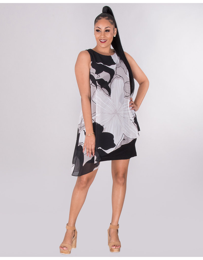 726160aed15a6 FAUSTINE- Asymmetrical Chiffon Overlay Dress - Harmonygirl.com