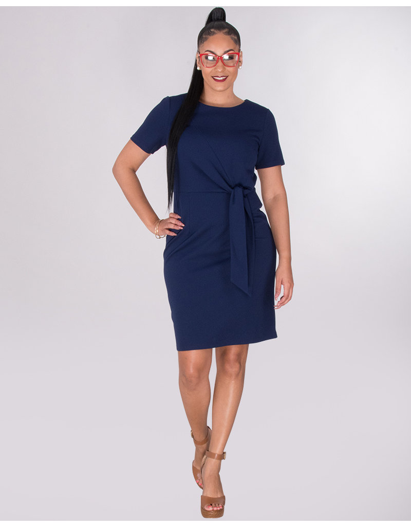 ROANNE- Short Sleeve Crepe Dress With Tie