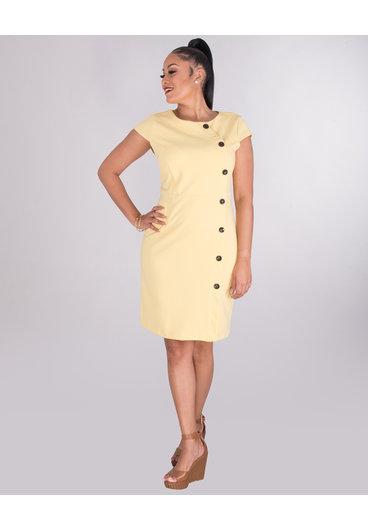 RICHARDA- Crepe Dress With Button Seam