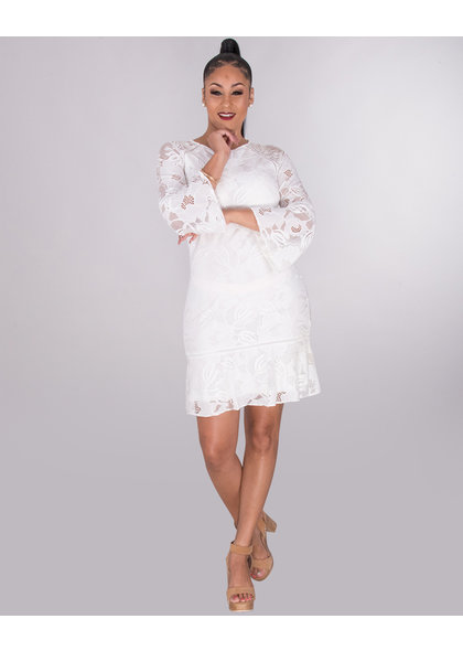 Kensie LORENZA- Lace 3/4 Sleeve Dress