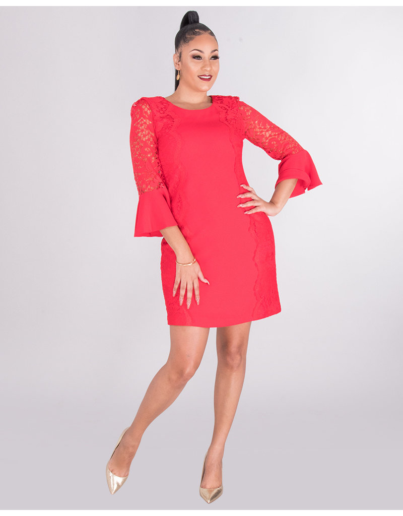 Kensie REKA- Lace Trim 3/4 Sleeve Dress