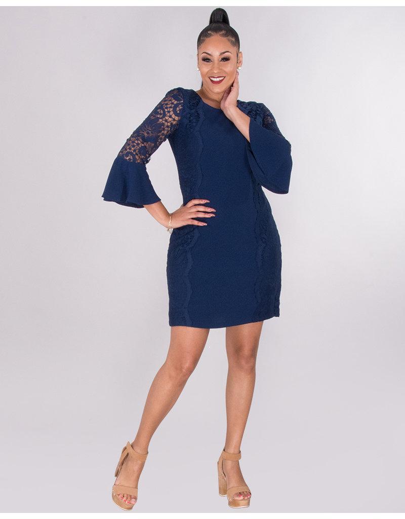 Kensie REKA- Lace Trim 3/4 Sleeve Dress