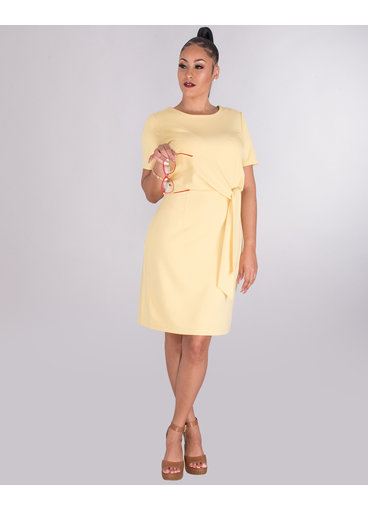 ROANNE- Short Sleeve Crepe Dress With Tie