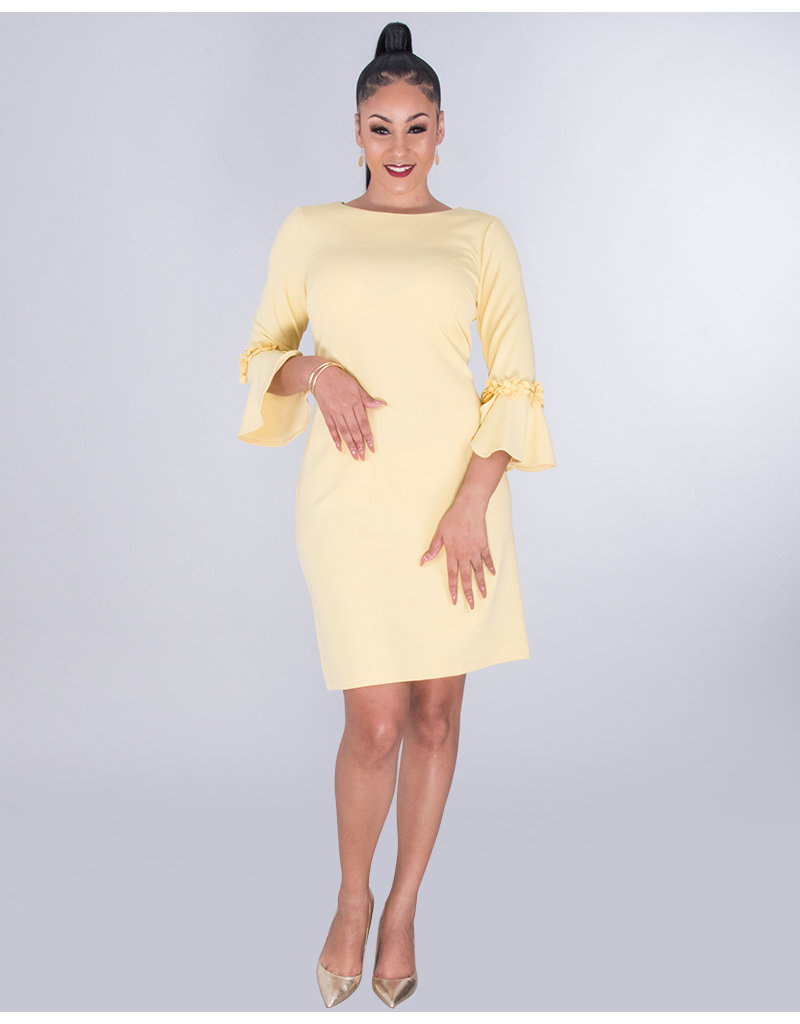RIONN-Crepe Dress With Flower Appliqué 3/4 Sleeves