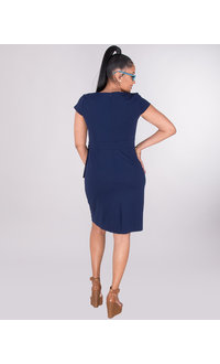 RIKO- Crepe Dress With Asymmetrical V-Neck