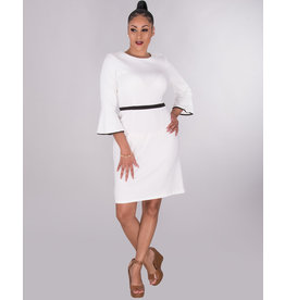 ITHACA- 3/4 Sleeve Dress With Trim At Waist And Cuff