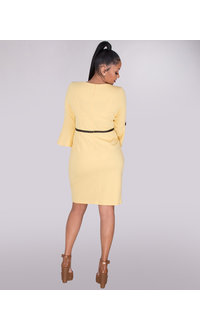 ROISIN- Crepe Dress With Trim And Bow On 3/4 Sleeves