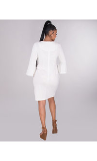 RIDLEY- Crepe Dress With Circle Trim 3/4 Sleeves