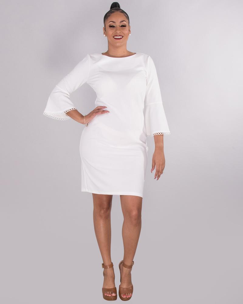 6f187cdaeea0 RIDLEY- Crepe Dress With Circle Trim 3/4 Sleeves - Harmonygirl.com